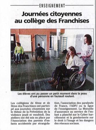 Journées citoyennes au collège des Franchises